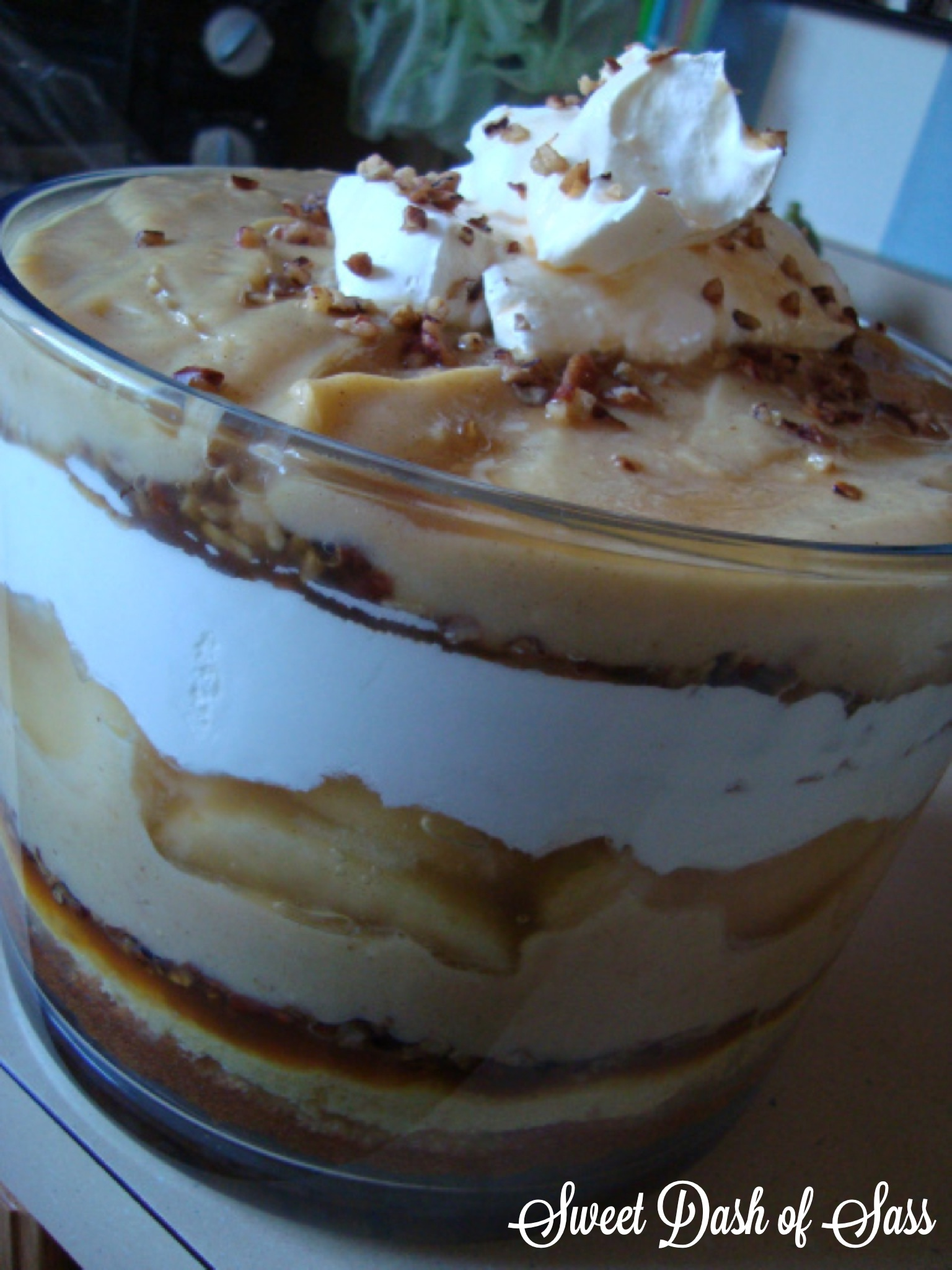 Caramel Apple Trifle - www.SweetDashofSass.com --  So easy to make for a picnic or get together!