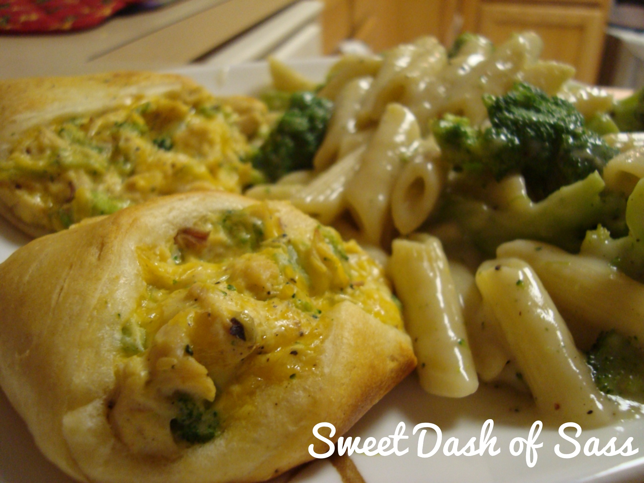 Chicken, Brocolli, and Cheese Pockets - www.SweetDashofSass.com  --  'LIKE' Sweet Dash of Sass on Facebook to check out this recipe and many more!