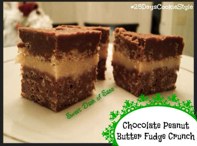Peanut Butter Fudge Crunch -- These are delicious and might be my favorite type of fudge.  #25DaysCookieStyle - www.SweetDashofSass.com