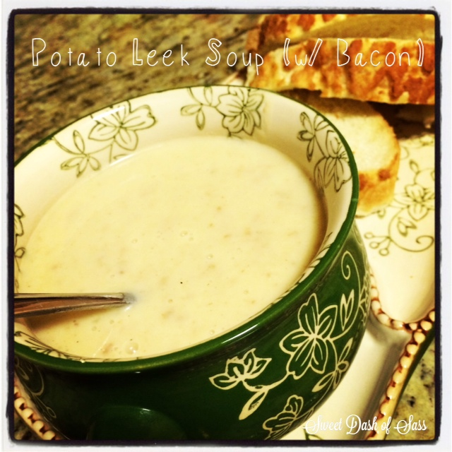 Potato Leek Soup w/ Bacon - www.SweetDashofSass.com
