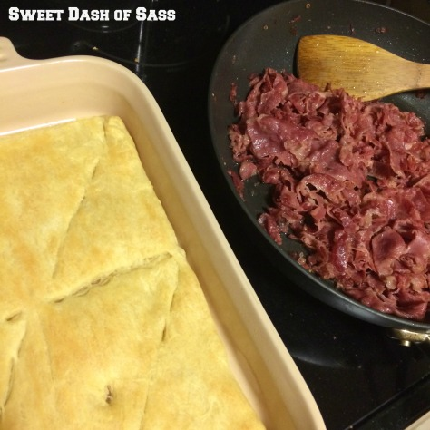 Reuben Crecent Sandwich Bake - www.SweetDashofSass.com  -- If you are a fan of Reubens, you will love this meal!!!