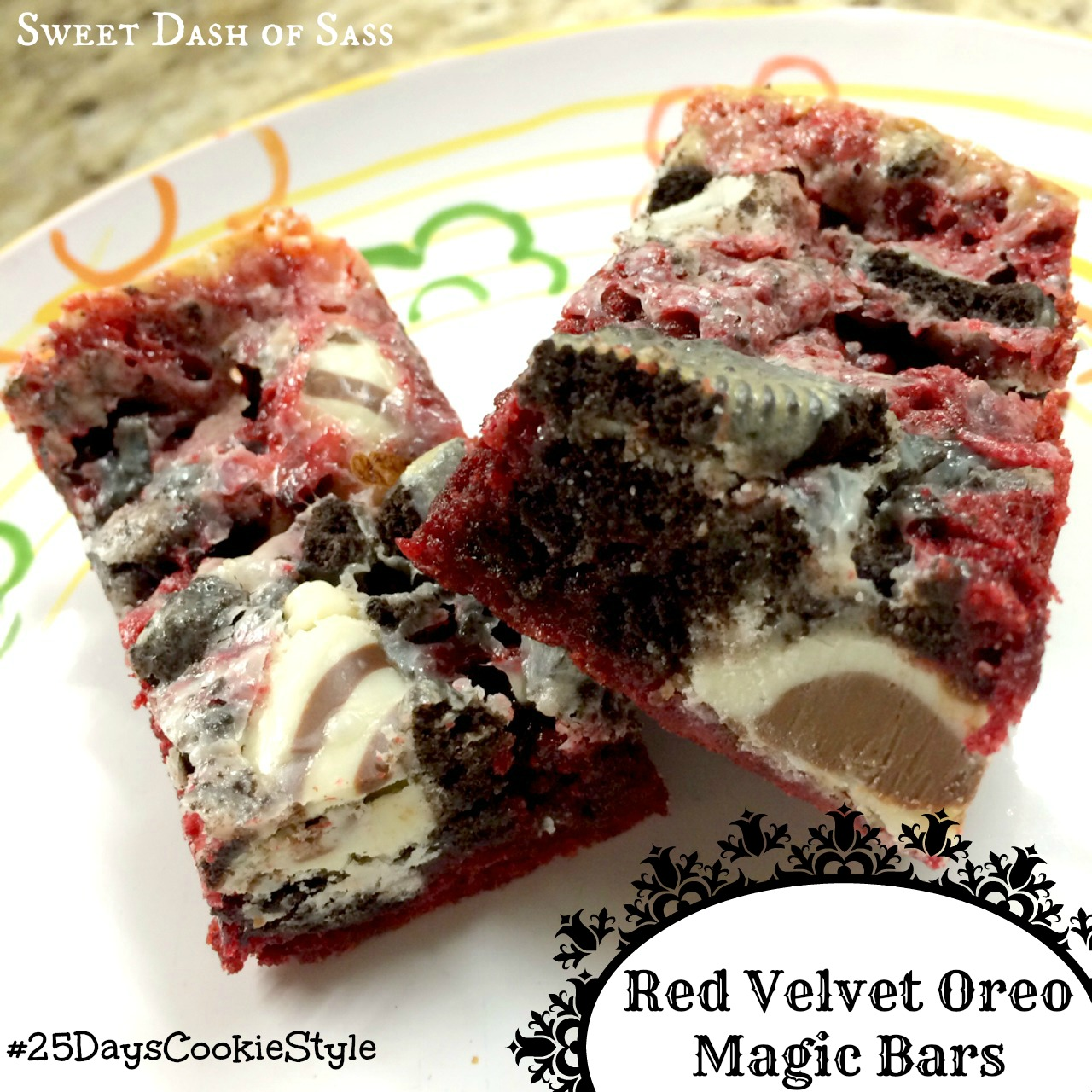 Red Velvet Oreos - Perfect Bar to make this holiday season.  So easy.  www.SweetDashofSass.com #25DaysCookieStyle