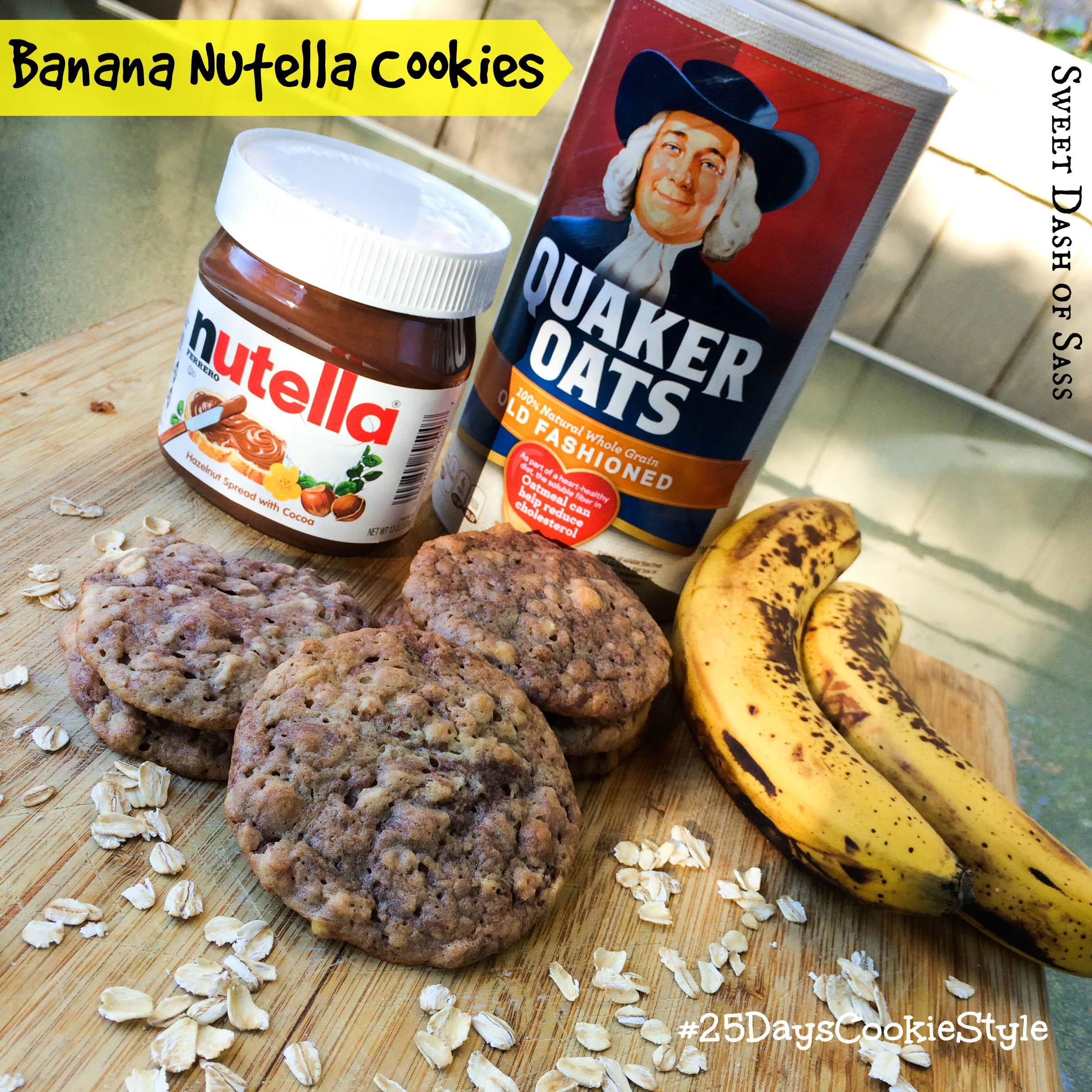 Banana Nutella Cookies -- These were a fan favorite this holiday season.  #25DaysCookieStyle www.SweetDashofSass.com