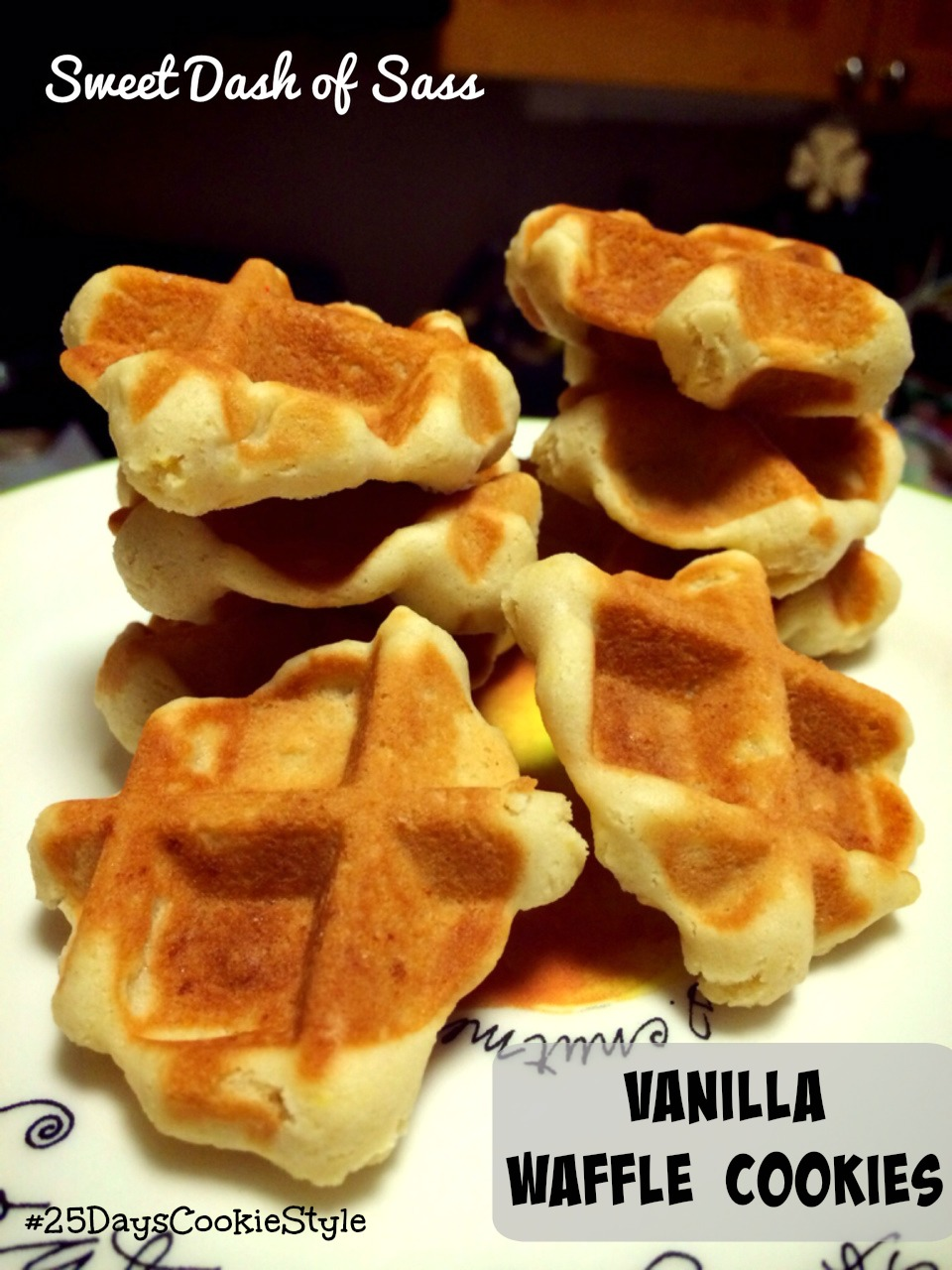Vanilla Waffle Cookies - No oven required!  Use your waffle iron.  #25DaysCookieStyle www.SweetDashofSass.com
