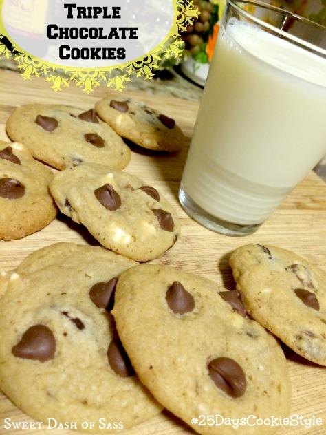 Triple Chocolate Cookies - #25DaysCookieStyle www.SweetDashofSass.com