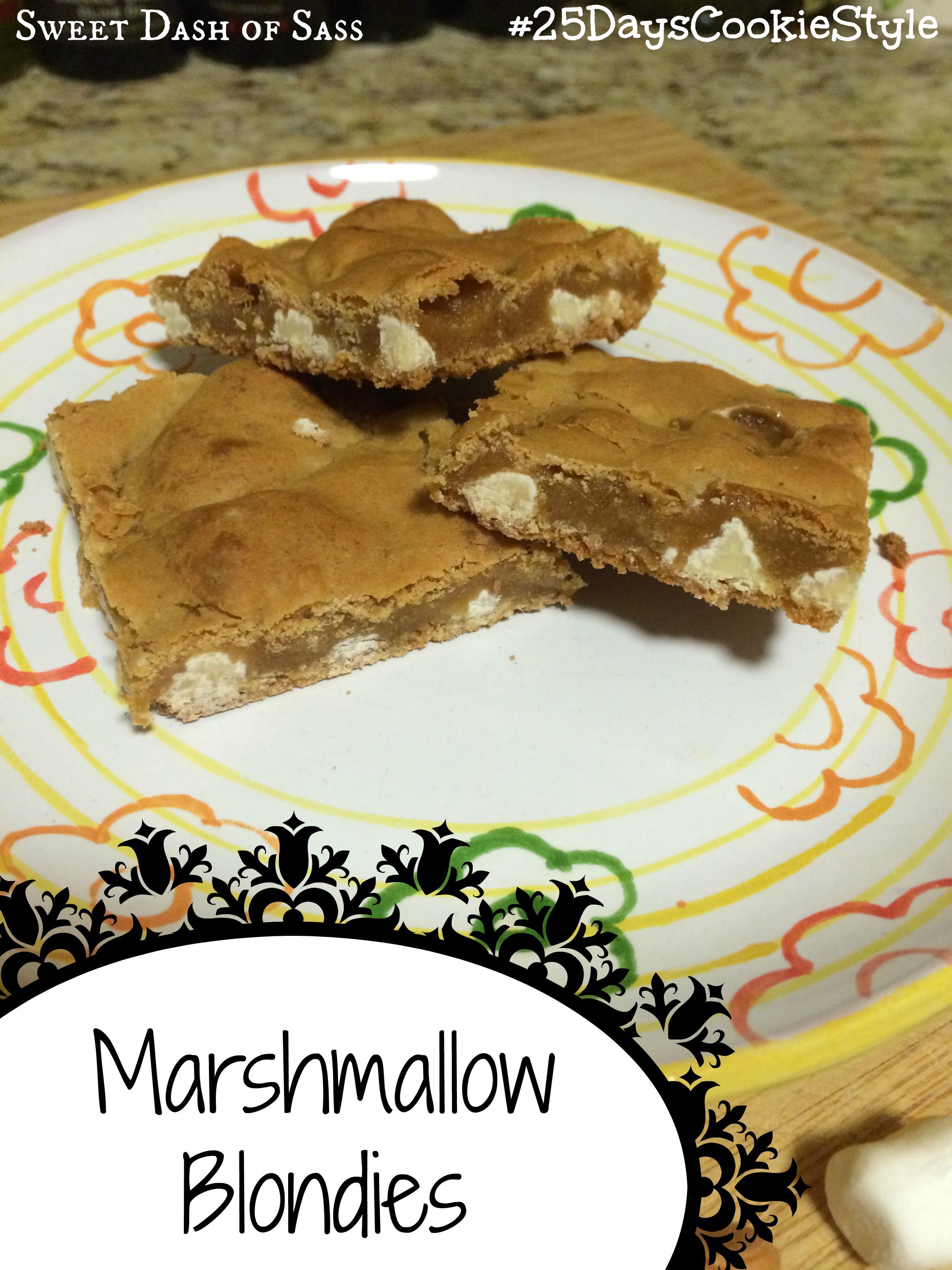 Marshmallow Blondies - #25DaysCookieStyle www.SweetDashofSass.com