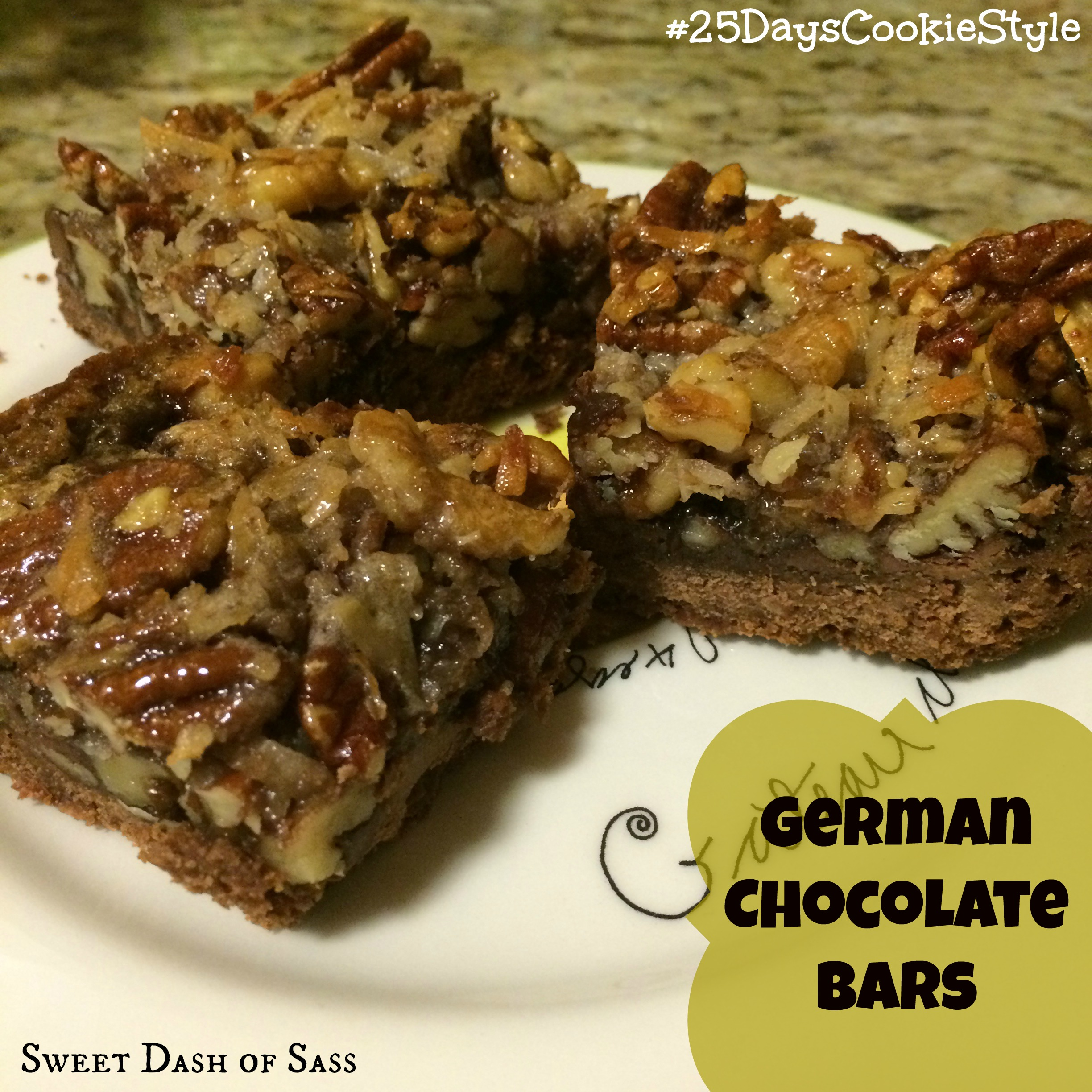 German Chocolate Bars #25DaysCookieStyle www.SweetDashofSass.com